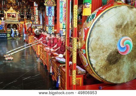 Buddhist Monks At The Ceremony In The Temple