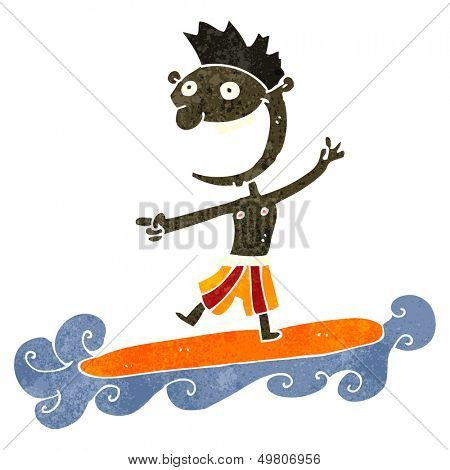 retro cartoon surfer dude