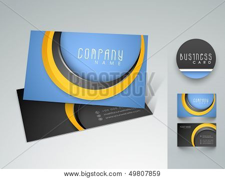Stylish professional and designer business card set or visiting card set in blue and black color.