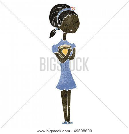 retro cartoon skinny girl with books