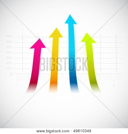 Abstract business background with upside arrow.