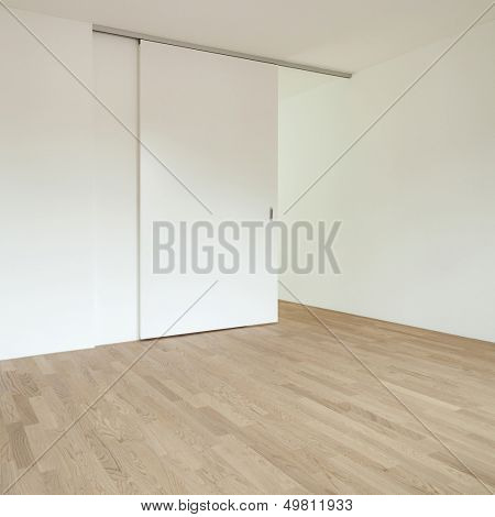 interior new house, empty room with sliding door