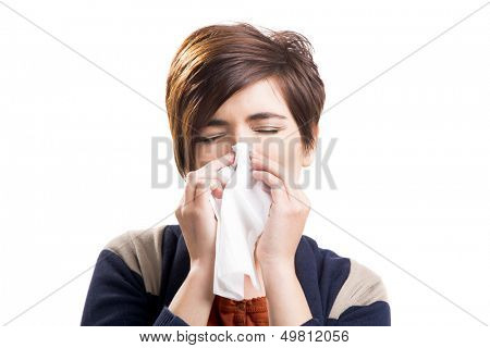 Portrait of a woman with flu, isolated over a white background
