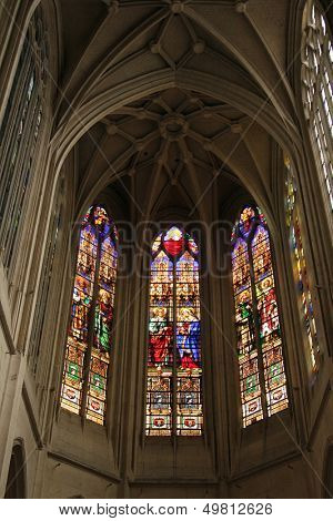 PARIS, FRANCE - NOV 07, 2012: Stained glass, church is dedicated Gervasius and Protasius is one of the oldest in Paris. Known for its richly painted stained glass, Paris on Nov 07, 2012