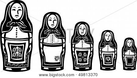 Several Russian Nested Dolls