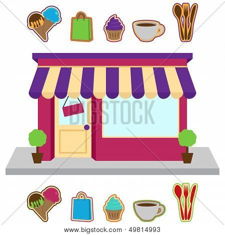 Vector Store or Shop with Signs