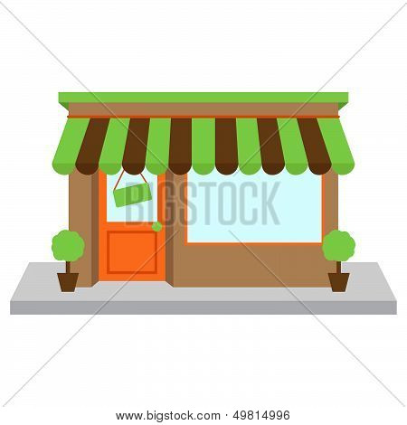 Vector Store Front or Shop with Window and Sign