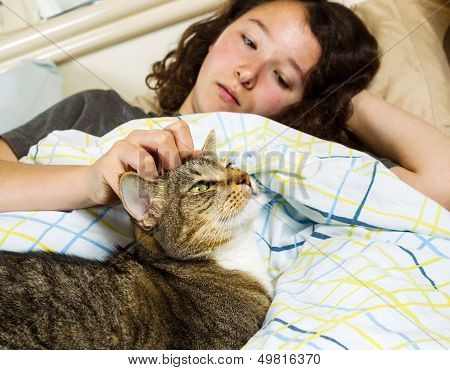 Waking Up Together - Girl And Her Pet Cat