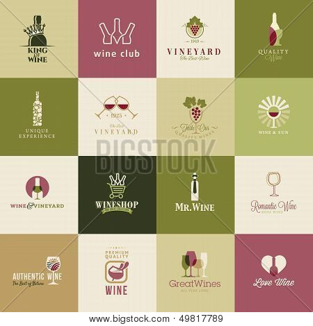 Set of icons for wine