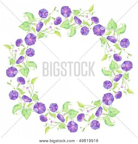 painted watercolor wreath of violet convolvulus