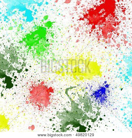 Splashes of colorful ink on white background.Abstract colorful splash watercolor art hand paint on w