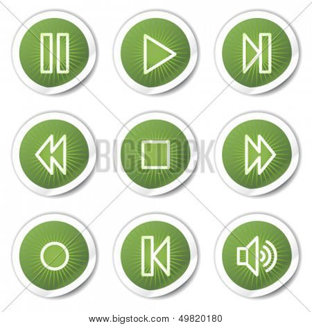 Walkman web icons, green stickers