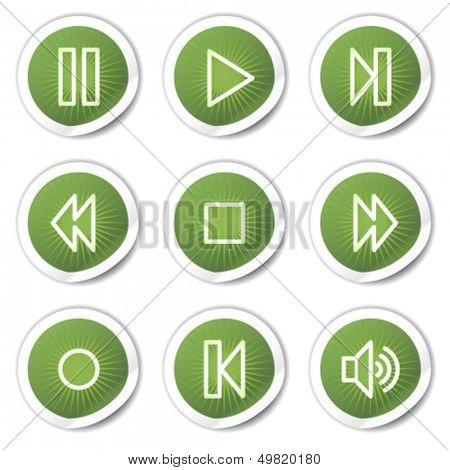 Walkman web icons, green stickers