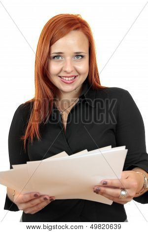 Portrait of smiling business woman with blank paper