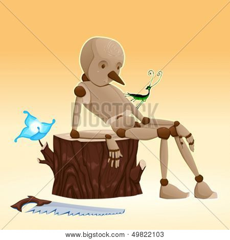 Pinocchio. Cartoon and vector illustration