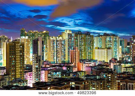 Kowloon district in Hong Kong at night