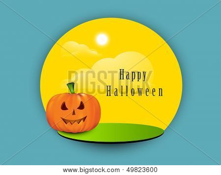 Tag, sticker or label with smiling pumpkin on blue background.