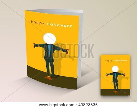 Halloween flyer or banner with ghost image.