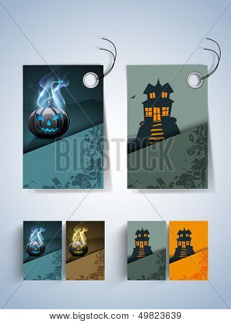 Halloween sticker, label or tags on blue background with haunted house and scary pumpkins.