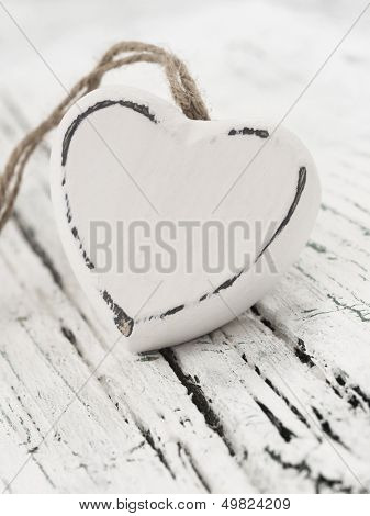 wooden heart on the table