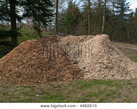 Haufen von Holz-chips mulch