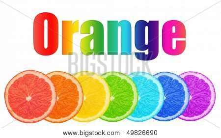 Multicolored pieces of orange with word