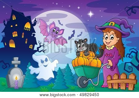 Halloween topic scene 2 - eps10 vector illustration.