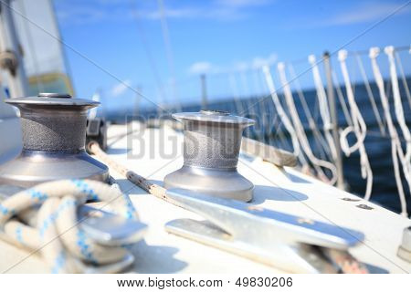 Sailboat Yacht Sailing In Blue Sea. Tourism