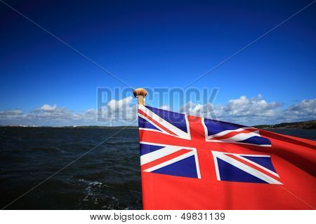 British Maritime Red Ensign Flag Blue Sky
