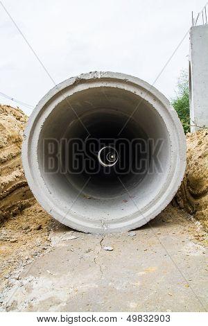 Concrete drainage pipe at construction site