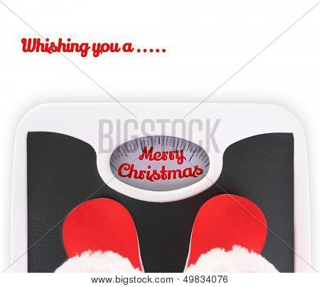Santa' s boots on bathroom scale