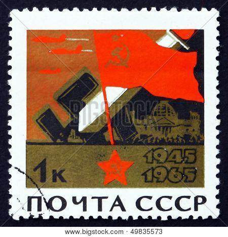 Postage Stamp Russia 1965 Soviet Flag, Broken Swastikas