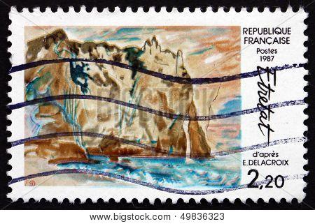 Postage Stamp France 1987 Cliffs At Etretat, By Eugene Delacroix