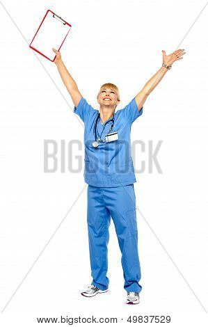 Long Shot Of A Jubilant Doctor Celebrating Her Success