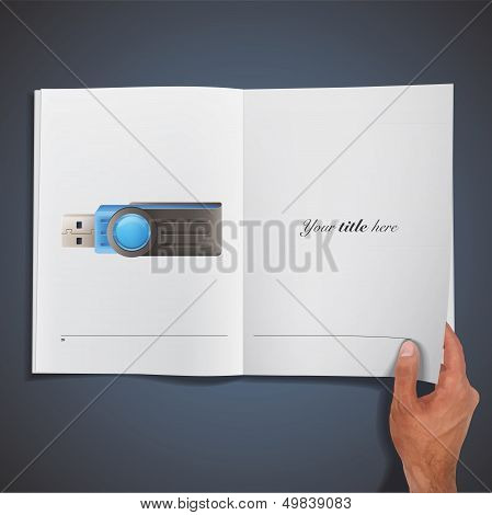 Blue Pendrive Printed On Book. Vector Design.