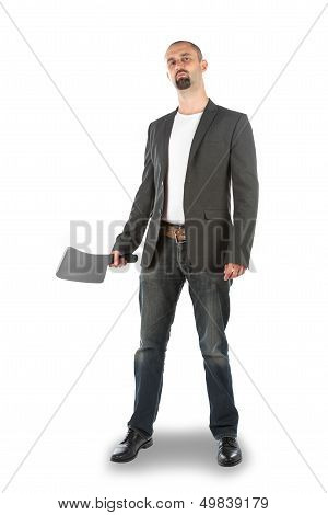 Angry Looking Man With Meat Cleaver