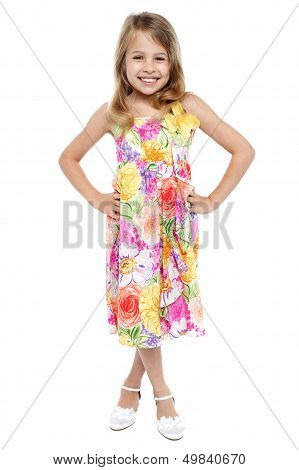 Full Length Portrait Of Stylish Young Girl