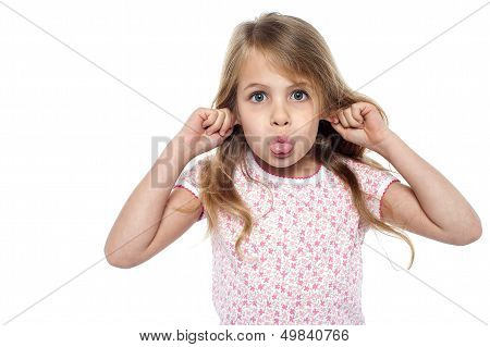 Fun Loving Girl Child Making Faces