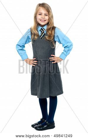 Pretty School Girl Posing Confidently