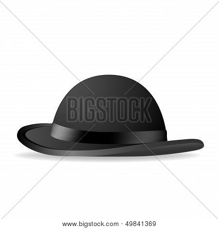 Black Bowler Hat. Vector Illustration