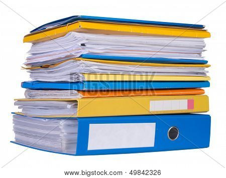 Pile of papers and files isolated on white background