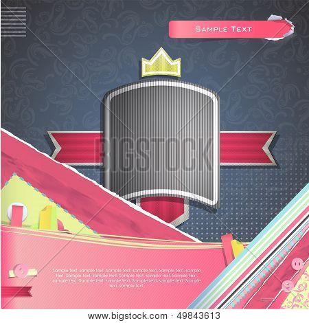 Vintage Label Over Vintage Background. Vector Design.