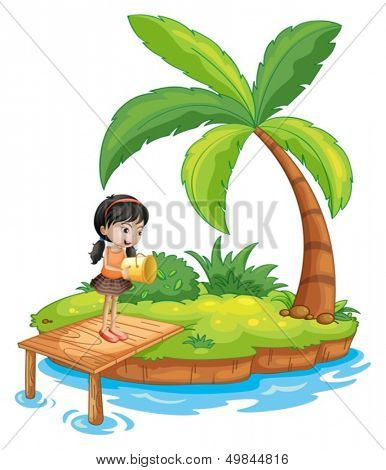 Illustration of a girl holding a pail above the wooden diving board on a white background