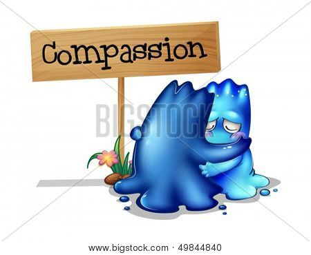 Illustration of the two compassionate monsters on a white background