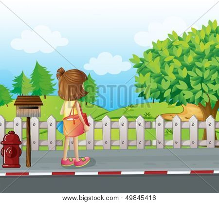 Illustration of a girl standing near the mailbox at the roadside