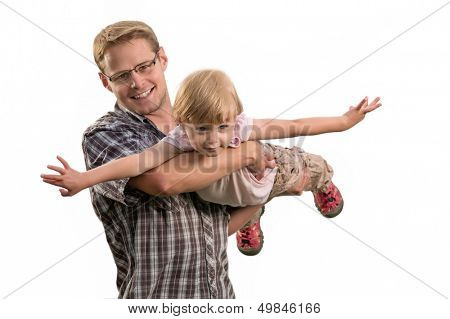 Father and daughter playing on the white background
