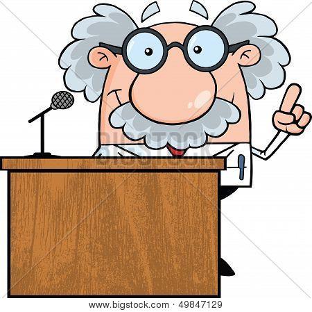 Scientist Or Professor Present From Podium