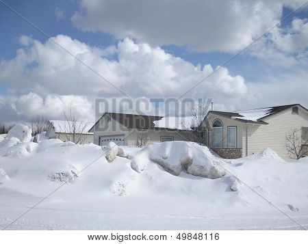 White clouds and snow scenic