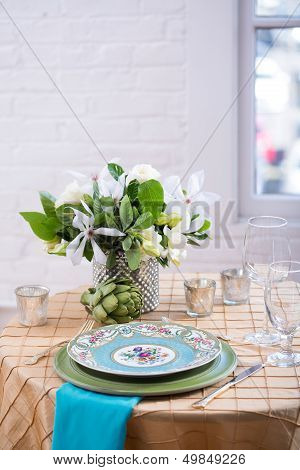 Blue Reception Table Setting