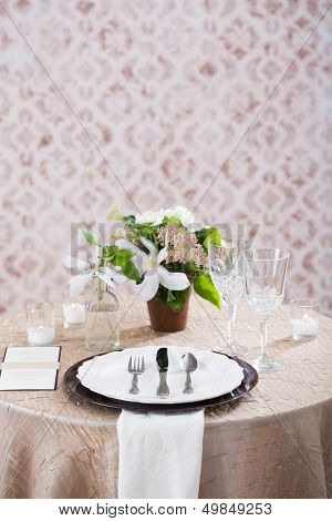 Cream Wedding Reception Table Setting